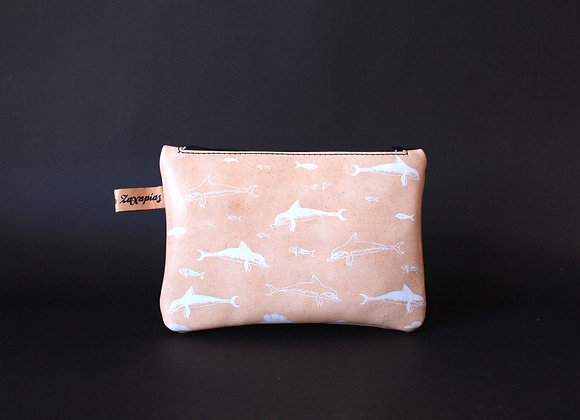 Leather Travel Pouch Purse, Minoan Dolphins