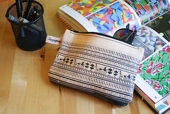 Leather Travel Pouch Purse, Geometrical Period