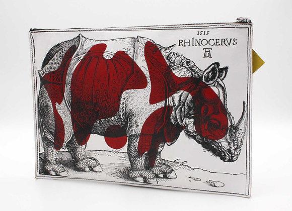 Leather clutch bag with Zipper, Rhinoceros
