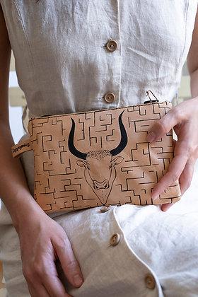 Leather Travel Pouch Purse, Minotauros