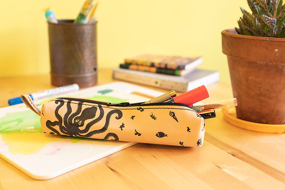 Classy leather pencil case/pen Pouch, Octopus