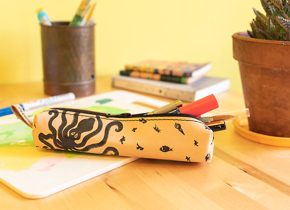 Classy leather pencil case/pen Pouch, Octopus