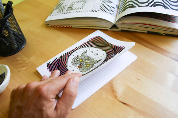 Optical Illusion Turning notebook/journal, Owl of Athens. Interactive cover.
