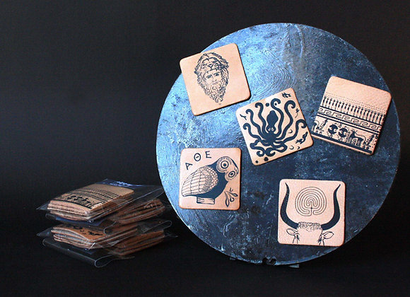 """Set 5 Leather Magnets Handprinted, """"I Love Ancient Greece"""""""