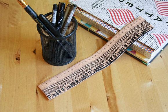 Leather Ruler/bookmark, Silkscreen printed, Geometrical Period