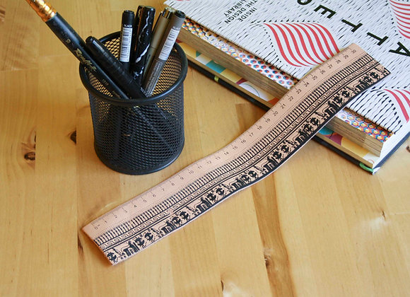 Leather Ruler/bookmark, Silkscreen printed, Geometrical Period
