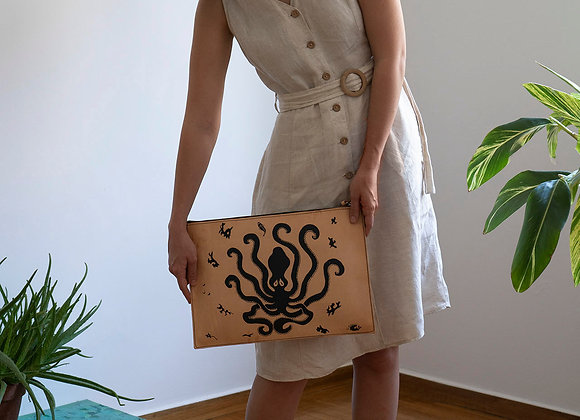 Leather clutch bag with zipper, Minoan Octopus