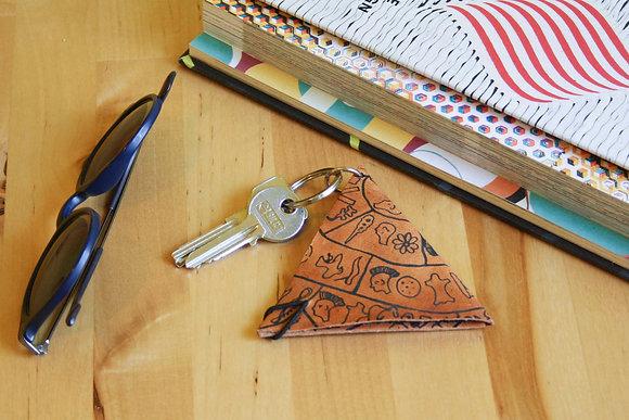 Leather Keychain Pouch, Phaistos Disc