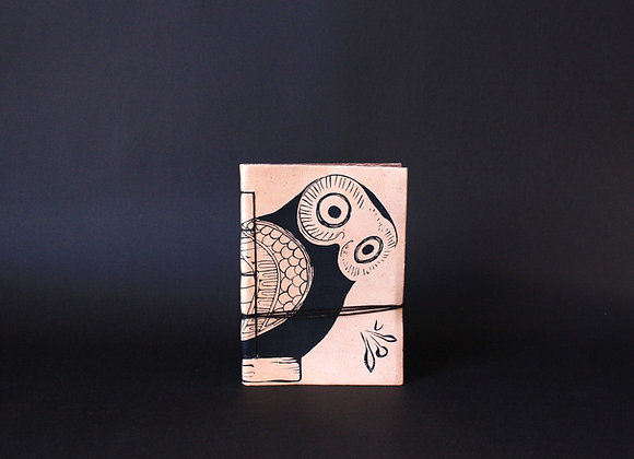 Leather Journal Notebook A6, Glaucus (Owl of Athens).