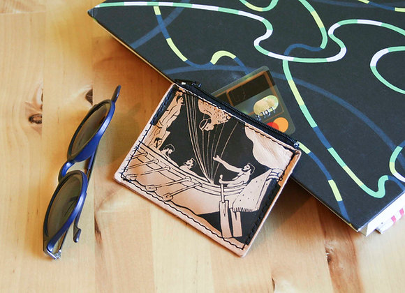 Leather credit card and coins purse, zippered pouch, unisexOdysseas & the Sirens