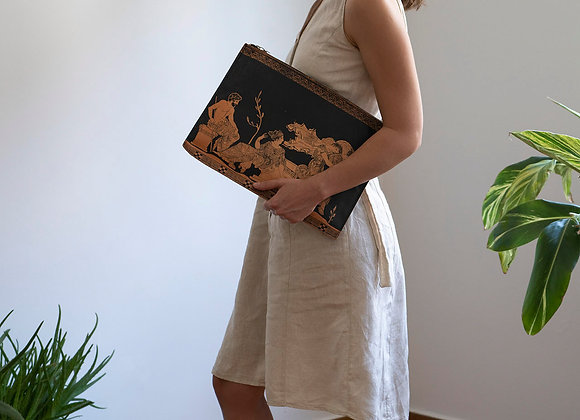 Leather clutch bag with zipper, The abduction of the Daughters of Leucippus