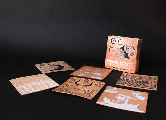 """Set 6 Leather Coasters / Handprinted, """"I Love Ancient Greece"""""""