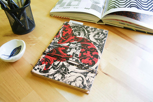 Leather Journal Notebook A5, Gothic Ornament.