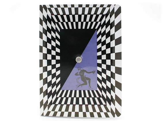 Optical Illusion Turning notebook/journal, Eros & Satyr. Interactive cover.
