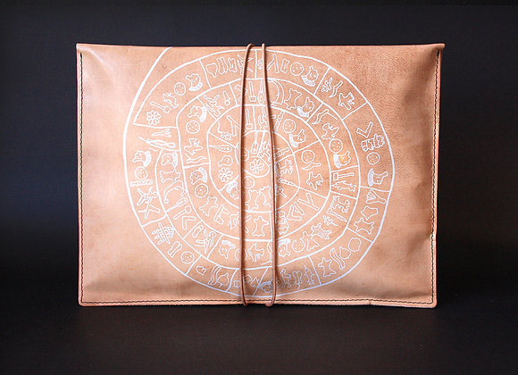 Leather Pouch Envelope Large, Phaistos Disc
