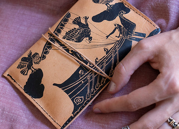 Leather pouch purse, Odysseus & the Sirens
