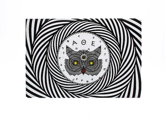 Turning postcard/wall decor, interactive Optical Illusion. Owl of Athens.