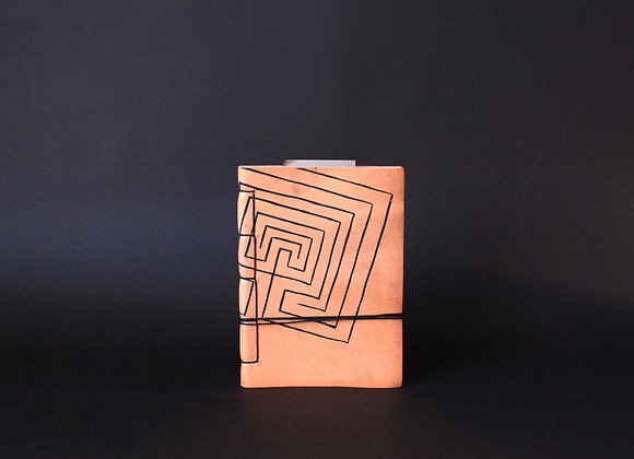 Leather Journal Notebook A6, Knossos Labyrinth.