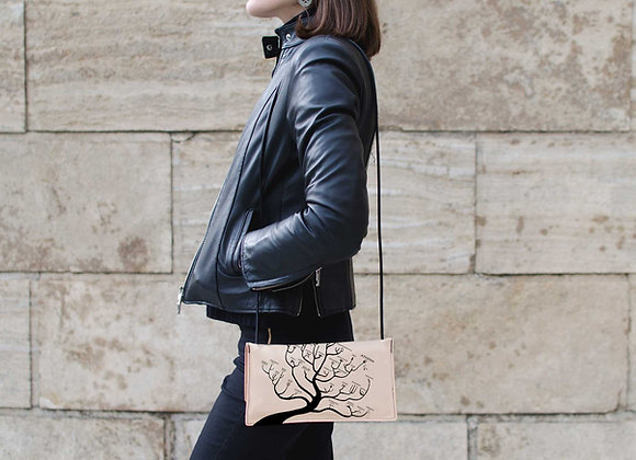 Leather small crossbody handbag / Genealogical Tree of Gods