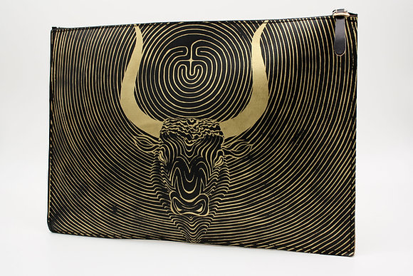 Leather clutch bag with Zipper, Minotauros