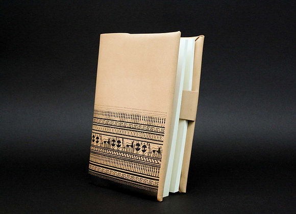Leather Book/Journal Cover, Refillable cover. Geometrical Period