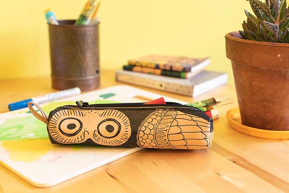 Classy leather pencil case/pen Pouch, Glaucus (Owl of Athens)