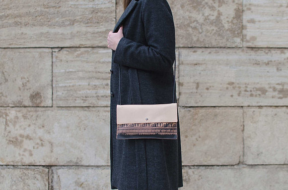 Leather small crossbody handbag / Geometrical Period
