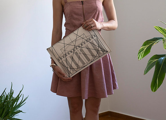 Leather clutch bag with Zipper, Golden Ratio