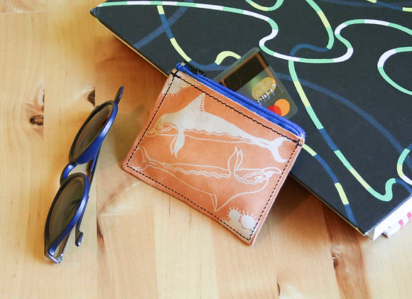 Leather credit card and coins purse, zippered pouch, unisex, Minoan Dolphins