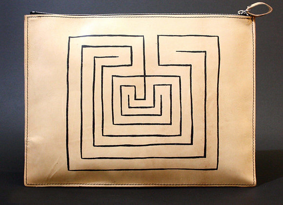 Leather clutch bag with Zipper, Knossos Labyrinth