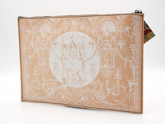 Leather clutch bag with Zipper, Grotesque