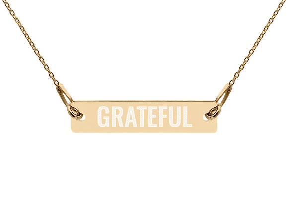 Grateful Engraved Bar Chain Necklace