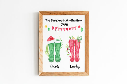 First Christmas in Our New Home A4 Print