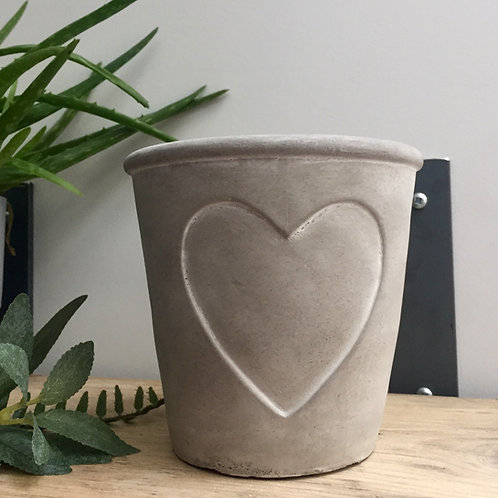Stamped Heart Concrete Planter