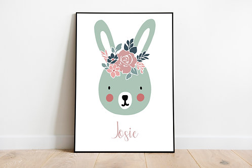 Personalised Bunny Print A4 Print
