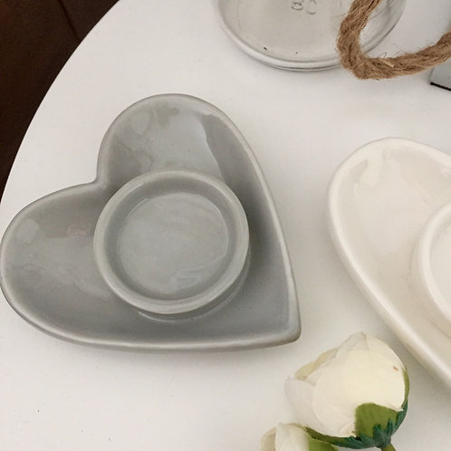 Grey Ceramic Heart Tealight Holder