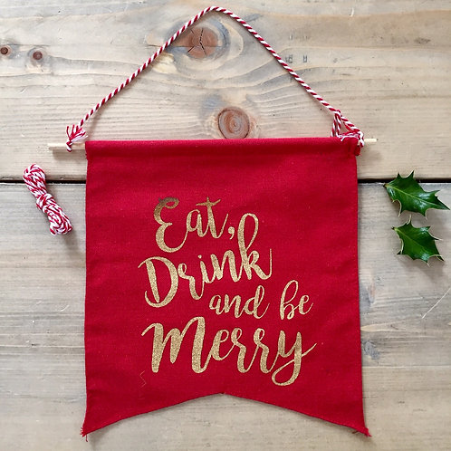Be Merry Hanging Pennant Flag