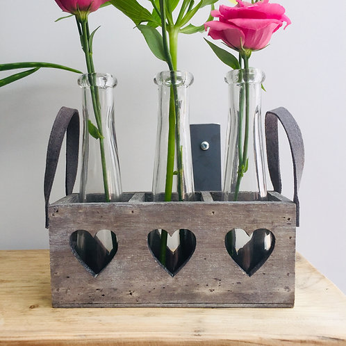 Three Glass Vases in Heart Tray