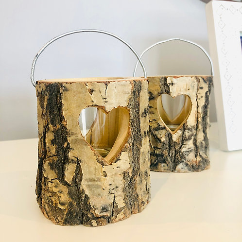 Rustic Wooden Heart Candle Holder