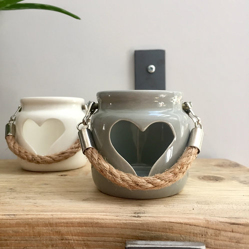 IMPERFECTION Mini Grey Ceramic Heart Lantern