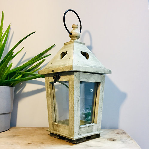 Rustic Wooden Lantern with Heart Cut Outs