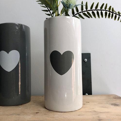White Ceramic Vase with Heart