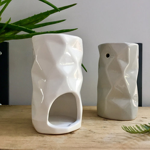 White Slim Abstract Oil/Wax Burner