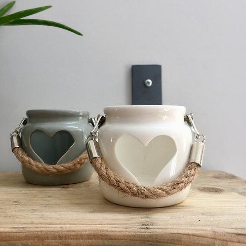 Mini White Ceramic Heart Lantern
