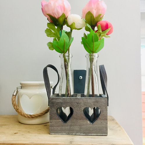 Two Glass Vases in Heart Tray