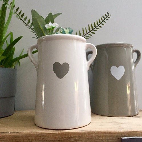 Large White Ear Handle Vase with Heart