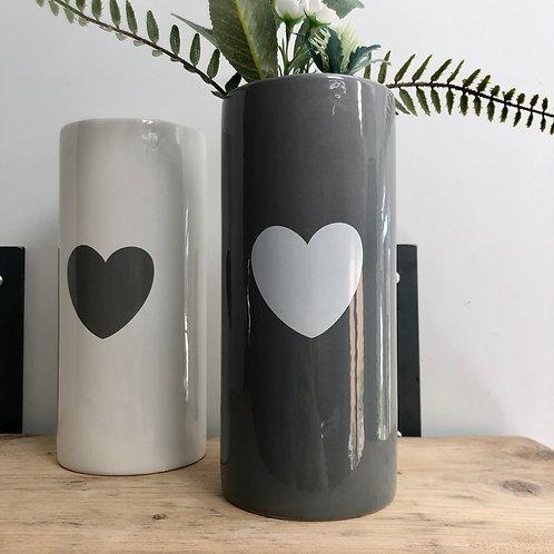 Grey Ceramic Vase with Heart