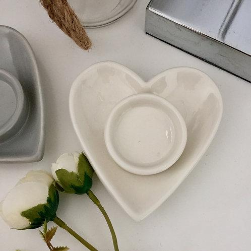 White Ceramic Heart Tealight Holder