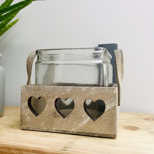 Single Glass in Heart Wooden Tray