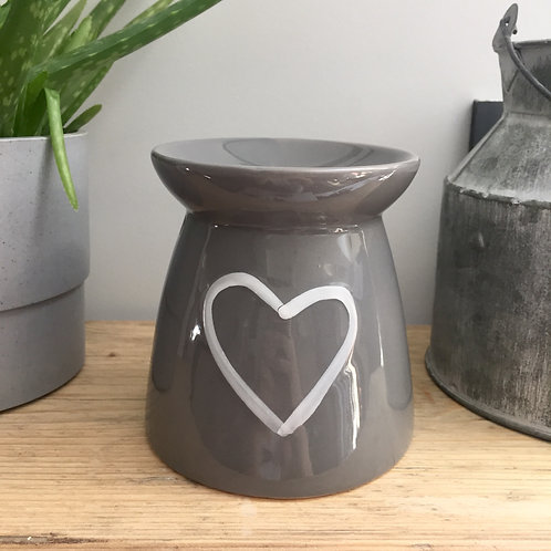 IMPERFECTION Grey Ceramic Heart Oil/Wax Burner